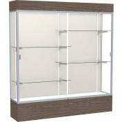 "Reliant Lighted Display Case 72""W x 80""H x 16""D Walnut Base Plaque Back Satin Natural Frame"