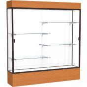 "Reliant Lighted Display Case 72""W x 80""H x 16""D Carmel Oak Base White Back Dark Bronze Frame"