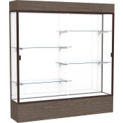 "Reliant Lighted Display Case 72""W x 80""H x 16""D Walnut Base White Back Dark Bronze Frame"