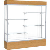 "Reliant Lighted Display Case 72""W x 80""H x 16""D Natural Oak Base White Back Satin Natural Frame"