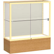 """Reliant Counter Case, Plaque Back, Champagne Gold Frame, Autumn Oak Base, 36""""L x 40""""H x 14""""D"""
