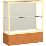 """Reliant Counter Case, Plaque Back, Champagne Gold Frame, Carmel Oak Base, 36""""L x 40""""H x 14""""D"""