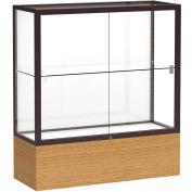 "Reliant Counter Case, White Back, Dark Bronze Frame, Autumn Oak Base, 36""L x 40""H x 14""D"