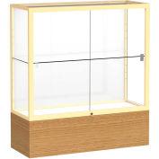 "Reliant Counter Case, White Back, Champagne Gold Frame, Autumn Oak Base, 36""L x 40""H x 14""D"