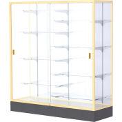 "Colossus Floor Case, White Back, Champagne Gold Frame, 60""L x 66""H x 20""D"