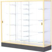 "Colossus Floor Case, White Back, Champagne Gold Frame, 72""L x 66""H x 20""D"