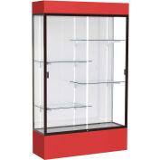 "Spirit Lighted Display Case 48""W x 80""H x 16""D White Back Dark Bronze Red Base & Top"