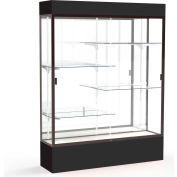 "Spirit Lighted Display Case 60""W x 80""H x 16""D Mirror Back Dark Bronze Black Base & Top"