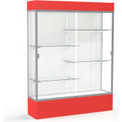 "Spirit Lighted Display Case 60""W x 80""H x 16""D White Back Satin Finish Red Base & Top"