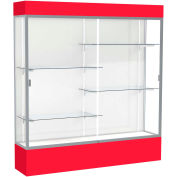 "Spirit Lighted Display Case 72""W x 80""H x 16""D White Back Satin Finish Red Base & Top"