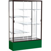 "Spirit Display Case Forest Green Base, Bronze Frame, Mirror Back 48""W x 72""H"