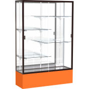 "Spirit Display Case Orange Base, Bronze Frame, Mirror Back 48""W x 16""D x 72""H"