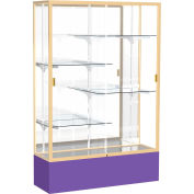 "Spirit Display Case Purple Base, Gold Frame, Mirror Back 48""W x 16""D x 72""H"