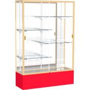 "Spirit Display Case Red Base, Gold Frame, Mirror Back 48""W x 16""D x 72""H"