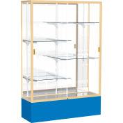 "Spirit Display Case Royal Blue Base, Gold Frame, Mirror Back 48""W x 16""D x 72""H"