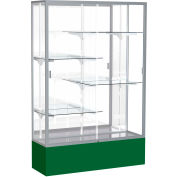 "Spirit Display Case Forest Green Base, Satin Frame, Mirror Back 48""W x 16""D x 72""H"