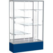 "Spirit Display Case Navy Base, Satin Frame, Mirror Back 48""W x 16""D x 72""H"