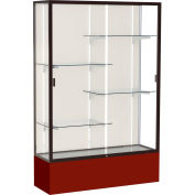 "Spirit Display Case Maroon Base, Bronze Frame, Fabric Back 48""W x 16""D x 72""H"