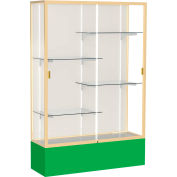 "Spirit Display Case Kelly Green Base, Gold Frame, Fabric Back 48""W x 16""D x 72""H"