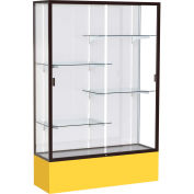 "Spirit Display Case Golden Rod Base, Bronze Frame, White Back 48""W x 16""D x 72""H"