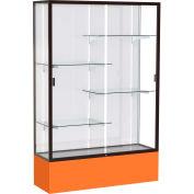 "Spirit Display Case Orange Base, Bronze Frame, White Back 48""W x 16""D x 72""H"