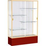 "Spirit Display Case Maroon Base, Gold Frame, White Back 48""W x 16""D x 72""H"