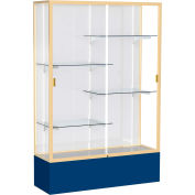 "Spirit Display Case Navy Base, Gold Frame, White Back 48""W x 16""D x 72""H"
