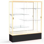"Spirit Display Case Black Base, Gold Frame, Mirror Back 60""W x 16""D x 72""H"