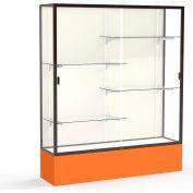 "Spirit Display Case Orange Base, Bronze Frame, Fabric Back 60""W x 16""D x 72""H"