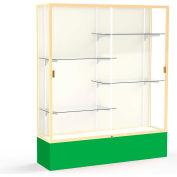 "Spirit Display Case Kelly Green Base, Gold Frame, Fabric Back 60""W x 16""D x 72""H"