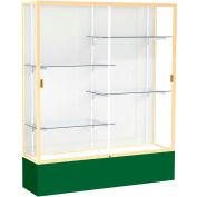 "Spirit Display Case Forest Green Base, Gold Frame, White Back 60""W x 16""D x 72""H"