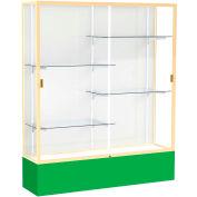 "Spirit Display Case Kelly Green Base, Gold Frame, White Back 60""W x 16""D x 72""H"