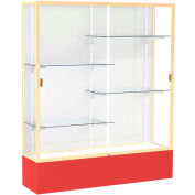 "Spirit Display Case Red Base, Gold Frame, White Back 60""W x 16""D x 72""H"