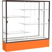 "Spirit Display Case Orange Base, Bronze Frame, Mirror Back 72""W x 16""D x 72""H"