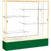 "Spirit Display Case Forest Green Base, Gold Frame, Mirror Back 72""W x 16""D x 72""H"