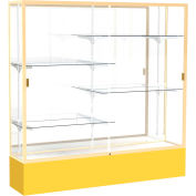 "Spirit Display Case Golden Rod Base, Gold Frame, Mirror Back 72""W x 16""D x 72""H"