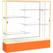 "Spirit Display Case Orange Base, Gold Frame, Mirror Back 72""W x 16""D x 72""H"