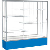"Spirit Display Case Royal Blue Base, Satin Frame, Mirror Back 72""W x 16""D x 72""H"