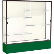 "Spirit Display Case Forest Green Base, Bronze Frame, Fabric Back 72""W x 16""D x 72""H"