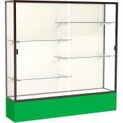 "Spirit Display Case Kelly Green Base, Bronze Frame, Fabric Back 72""W x 16""D x 72""H"