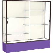"Spirit Display Case Purple Base, Bronze Frame, Fabric Back 72""W x 16""D x 72""H"