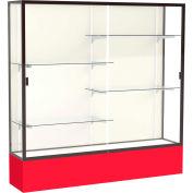 "Spirit Display Case Red Base, Bronze Frame, Fabric Back 72""W x 16""D x 72""H"