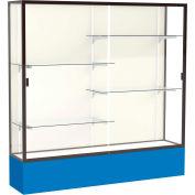 "Spirit Display Case Royal Blue Base, Bronze Frame, Fabric Back 72""W x 16""D x 72""H"