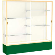 "Spirit Display Case Forest Green Base, Gold Frame, Fabric Back 72""W x 16""D x 72""H"