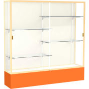 "Spirit Display Case Orange Base, Gold Frame, Fabric Back 72""W x 16""D x 72""H"