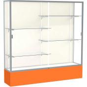 "Spirit Display Case Orange Base, Satin Frame, Fabric Back 72""W x 16""D x 72""H"
