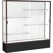 "Spirit Display Case Black Base, Bronze Frame, White Back 72""W x 16""D x 72""H"