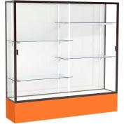 "Spirit Display Case Orange Base, Bronze Frame, White Back 72""W x 16""D x 72""H"