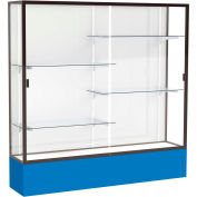"Spirit Display Case Royal Blue Base, Bronze Frame, White Back 72""W x 16""D x 72""H"