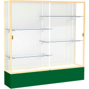 "Spirit Display Case Forest Green Base, Gold Frame, White Back 72""W x 16""D x 72""H"